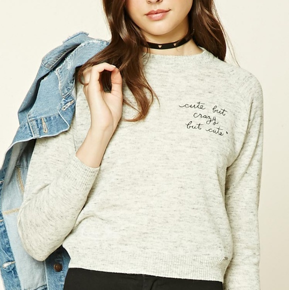 5fba8fd6f1f7f Forever 21 Cute but Crazy but Cute Heather Sweater